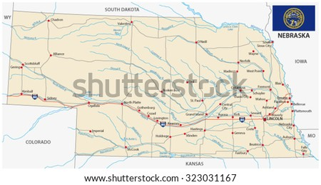 Normandy Road Map Stock Vector Shutterstock - Roadmap of nebraska