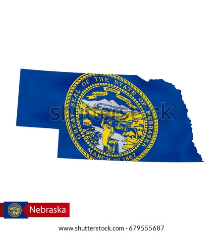 Nebraska State Map With Waving Flag Of Us State Vector Ilration