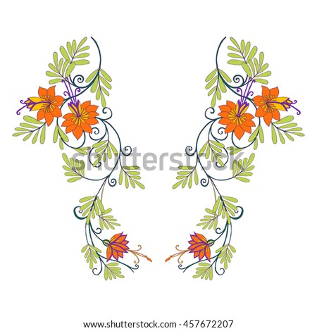 Neck line embroidery designs with middle ages floral pattern. Vector illustration.