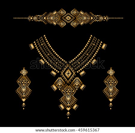 Neckline with a gold embroidered Aztec style beads, female jewelry, ethnic necklace, print on t-shirt