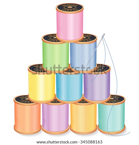 Needle and Threads Pyramid, pastels, silver needle, 10 spools of thread stack, isolated on white for sewing, tailoring, quilting, crafts, needlework, do it yourself projects. EPS8 compatible.