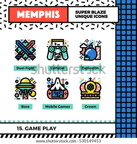 Neo memphis style icons with pop colors. Game play vector icons set. Funky and trendy colorful graphics. Flat design web symbol pack. Bold line icons collection. Isolated on white.