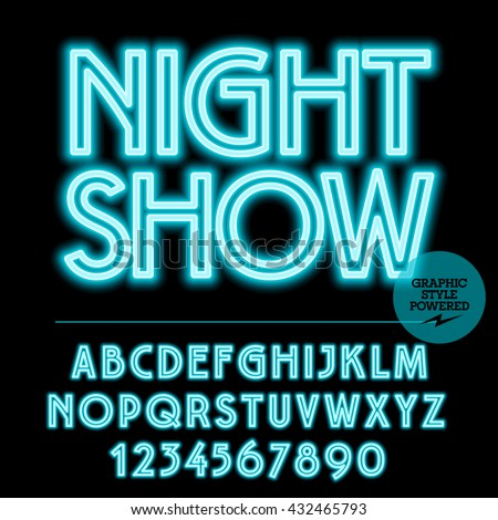 Neon bright set of alphabet letters, numbers and punctuation symbols. Vector light up blue logo with text Night show