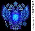 Neon Emblem of Russia - stock photo