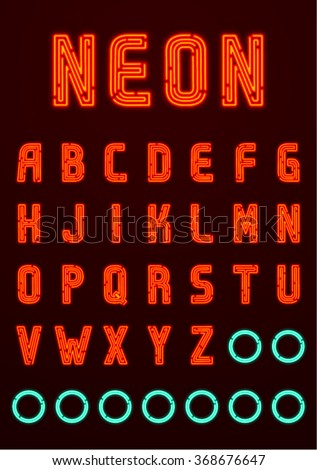Neon font, complete Alphabet + numbers and symbols (available in English, Greek and Russian) Part 1/4