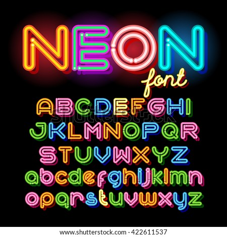 Neon Light Alphabet Vector Font. Neon tube letters on dark background. Uppercase and small case set