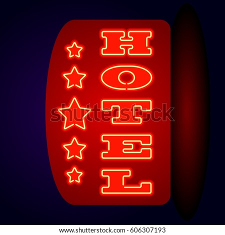 Neon Sign HOTEL Vertical Inscription Vector Illustration