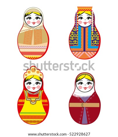 Nested dolls set. Matryoshka dolls with different traditional Russian ornaments. Isolated vector illustration. Eps 10.