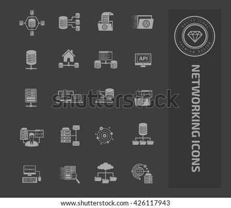 Networking icon set on clean background,vector