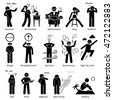 Neutral Personalities Character Traits. Stick Figures Man Icons. Starting with the Alphabet S. - stock photo
