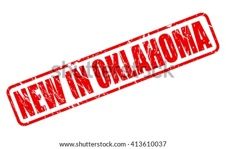 NEW IN OKLAHOMA red stamp text on white