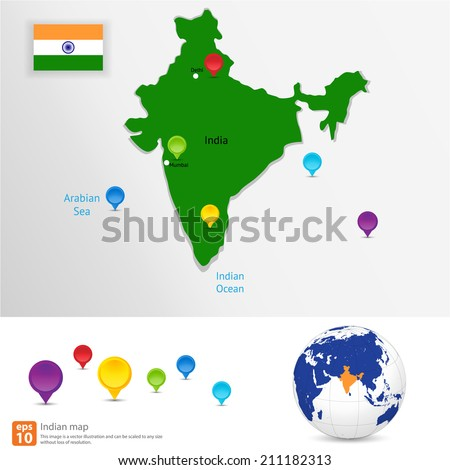 New india map with  pin marker location vector format