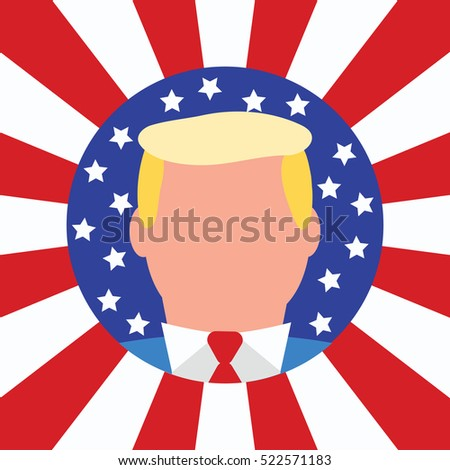 New 2016 USA President Donald Trump. Election Winner Candidate. Flat Styled Vector Illustration. American Stars and Stripes Flag Background.