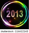 New year 2013 background glossy glowing colorful numbers vector illustration - stock vector