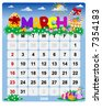 New Year calendar March - Vector file contains separate layers: US Style, start on Sunday + Europe Style, start in Monday. - stock vector