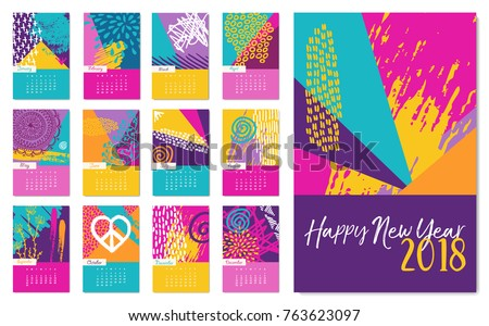 New year 2018 calendar template monthly stock vector 763625524 new year 2018 calendar template monthly planner set with fun colorful hand drawn art and pronofoot35fo Choice Image