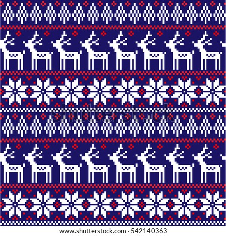 New Year, Christmas and Winter knitted seamless pattern with deer - scandinavian style