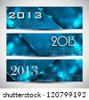 New year colorful blue header and banner set vector design - stock vector