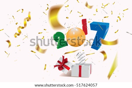 New Year concept,surprising gift box with a year 2017 and bokeh confetti jumping out like a jack in the box.Vector illustration.