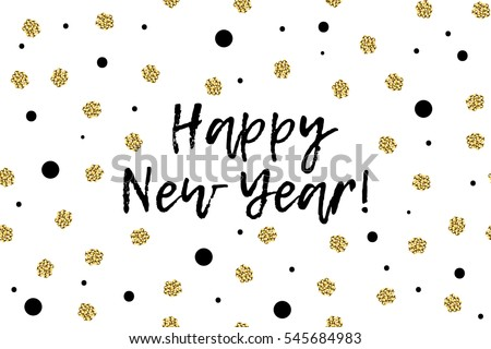 New Year greeting card with text, black and gold dots. Happy New Year