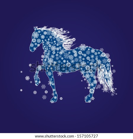 New Year illustration with horse and snow in blue and white colors