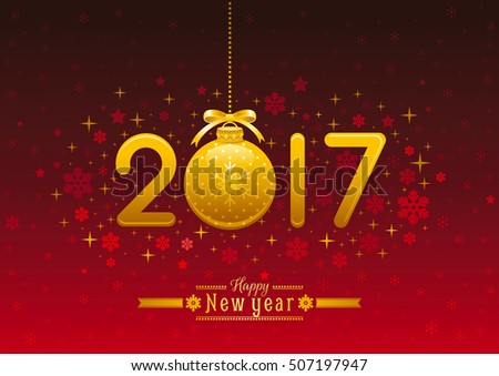 New Year 2017 poster banner abstract template design, vector illustration. Golden numbers decoration, ball, retro text lettering. Isolated on dark red