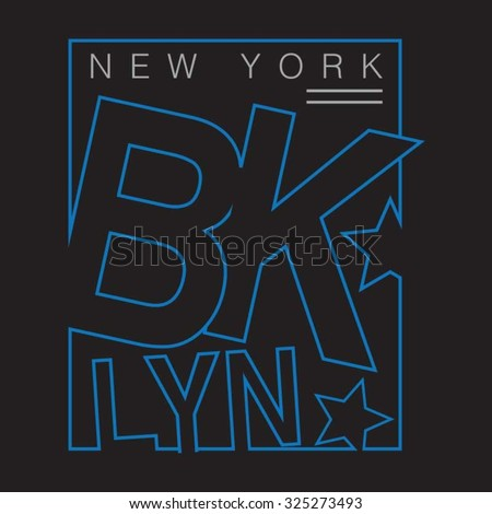 New york Brooklyn typography, t-shirt graphics, vectors