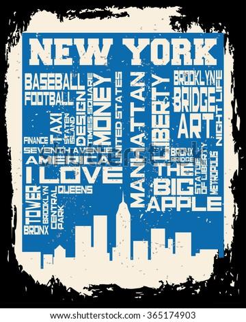 new york hand drawn artwork slogan stock vector 563771710. Black Bedroom Furniture Sets. Home Design Ideas