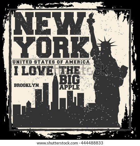 New york city concept logo label stock vector 444488833 for Same day t shirt printing las vegas