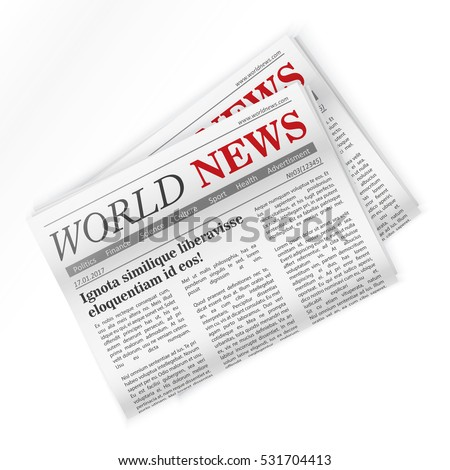 Newspaper and World Regional newspapers news isolated.
