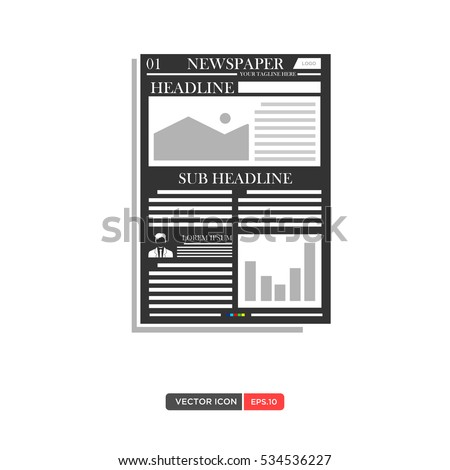 Newspaper Daily Flat Vector Set Design Stock Vector