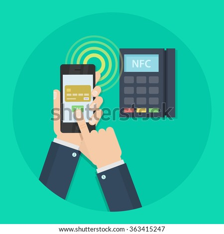 Nfc payment vector illustration. Mobile payment concept. Nfc technology. Mobile payment trough POS. Making wireless transactions.