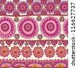 nice abstract seamless pattern. Indian ornament, kaleidoscopic floral pattern, mandala. ethnic pattern. range, circle, round, disk. - stock vector
