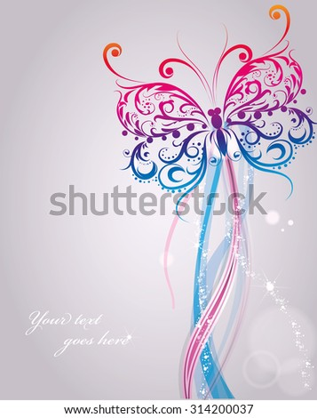 Nice celebration card with white flying butterfly with sample text, illustration