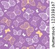 Night butterflies vector seamless pattern background with hand drawn elements - stock