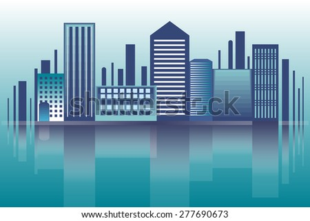 Night city landscape.Vector background