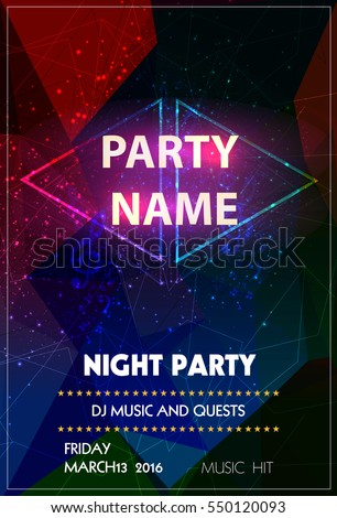 Night Disco Party easy all editable