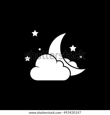 Night Moon With Cloud And Stars Halloween Concept Flat Icon On Black Background