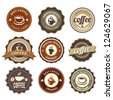 Nine Coffee Badges For Web Or Print - stock photo