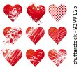 nine lovely red heart, vector illustration - stock photo
