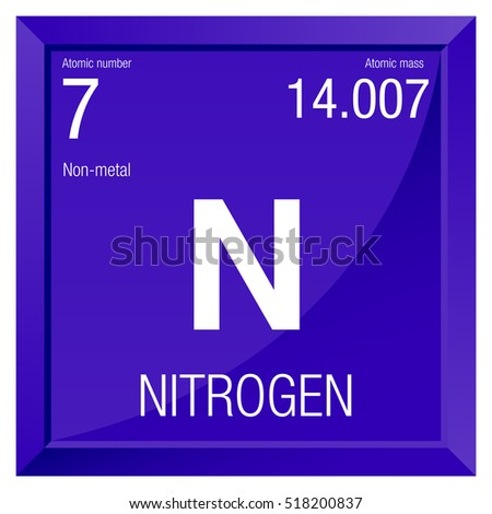 Nitrogeno symbol nitrogen spanish language element stock vector nitrogen symbol element number 7 of the periodic table of the elements chemistry urtaz Images