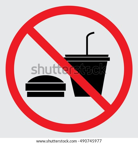 No eating or drinking icon. Vector illustration