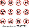 No icons; A series set of icons all outlining things that are prohibited or being called on to be banned! E.g. No talking, no cycling, no dogs, no ball games etc. - stock vector