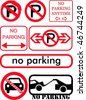 No parking signs collection - stock photo