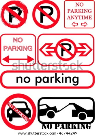 No parking signs collection