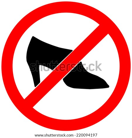 no shoes sign on white background