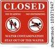 No swimming no wading water contaminated. Vector - stock vector