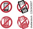 No Texting Signs / Symbols - stock vector