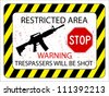 no trespassers allowed sign against white background, abstract vector art illustration - stock photo