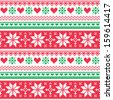 Nordic seamless knitted christmas red and green pattern - stock vector